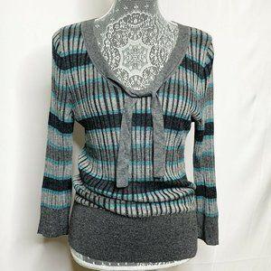 DKNY Sweater Women L Blue Gray Striped Knit V Neck